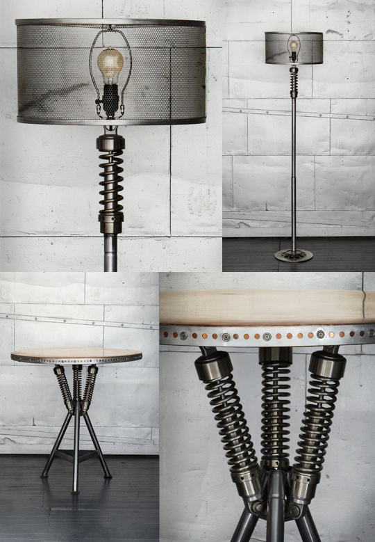 Recycled Vintage Motorcycle Lamps and Furniture, by Classified Moto