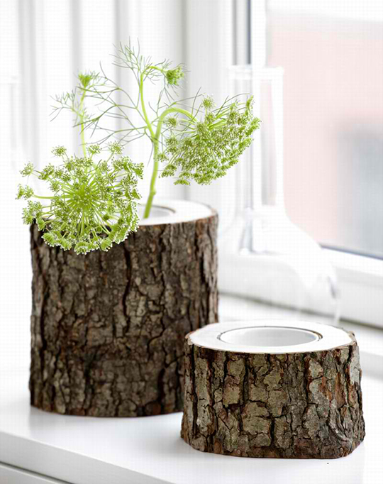 Rustic Wooden Vases: Stem by Ferm